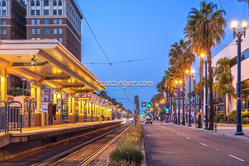 Long Beach, CA, City, MTA - Metro Blue Line, Cityscape, Skyline, Architectural, Building, Southern California, USA,