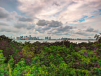 HDR composite view of downtown Miami, Florida and the Port of Miami as seen from Virginia Key.