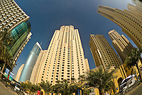 The Hilton Dubai Jumeirah hotel and other buildings on Jumeirah Beach Road, Dubai, United Arab Emirates