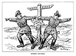 Divided Counsels. (two German generals argue about which way to attack and in the process tear their Supreme War Policy at the West-East signpost)