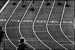 American sprinter Carl Lewis qualifies for the 200m Olympic finals.  .Los Angeles, California, USA, August 1984.