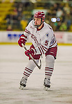 24 November 2013: University of Massachusetts Minutemen Defenseman Anthony Raiola, a Redshirt Senior from Victoria, MN, in action against the University of Vermont Catamounts at Gutterson Fieldhouse in Burlington, Vermont. The Cats shut out the Minutemen 2-0 to sweep the 2-game home-and-away weekend Hockey East Series. Mandatory Credit: Ed Wolfstein Photo *** RAW (NEF) Image File Available ***