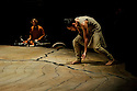 London, UK. 11.01.2016. Akram Khan Company debuts at the Roundhouse with UNTIL THE LIONS, which is based on the Mahabharata. Dancers are: Akram Khan, Ching-Ying Chien (long hair), and Christine Joy Ritter (hair in bun). Photograph © Jane Hobson.