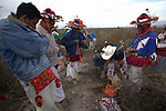 Pilgrimage of Native Wixaricas to their sacred place of Wirikuta, February 5, 2012. The scene is at Margaritas for searching the sacred plant Hikuri in San Luis Potosi state. Photo by Heriberto Rodriguez