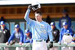 13 February 2015: North Carolina's Skye Bolt salutes a teammate for hitting a home run. The University of North Carolina Tar Heels played the Seton Hall University Pirates in an NCAA Division I Men's baseball game at Boshamer Stadium in Chapel Hill, North Carolina. UNC won the game 7-1.