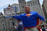 """Philadelphia, PA - July 26, 2016: Randy Leavitt, of Vermont, holds a signs in support of Bernie Sanders at a """"Bernie or Bust"""" rally across from City Hall during the Democratic National Convention in Philadelphia, PA, July 26, 2016  (Photo by Don Baxter/Media Images International)"""