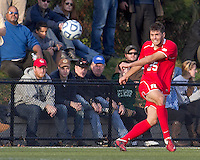 Boston College defender Jamie Doherty (25) passes the ball.  Rutgers University defeated Boston College in penalty kicks after two overtime periods in NCAA Division I tournament action, at Newton Campus Field, November 20, 2011.