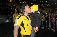 Ma'a Nonu with his son Mercury after the match. Super 15 rugby match - Crusaders v Hurricanes at Westpac Stadium, Wellington, New Zealand on Saturday, 18 June 2011. Photo: Dave Lintott / lintottphoto.co.nz