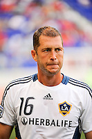Gregg Berhalter (16) of the Los Angeles Galaxy. The Los Angeles Galaxy defeated the New York Red Bulls 1-0 during a Major League Soccer (MLS) match at Red Bull Arena in Harrison, NJ, on August 14, 2010.
