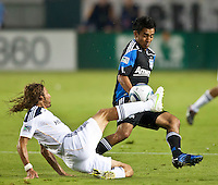CARSON, CA – August 20, 2011: LA Galaxy defender Frankie Hejduk (6) and San Jose Earthquake midfielder Rafael Baca (30) during the match between LA Galaxy and San Jose Earthquakes at the Home Depot Center in Carson, California. Final score LA Galaxy 2, San Jose Earthquakes 0.