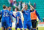 Hibs v St Johnstone.....30.04.11.Liam Craig scorer of saints first goal applauds the fans at full time.Picture by Graeme Hart..Copyright Perthshire Picture Agency.Tel: 01738 623350  Mobile: 07990 594431