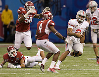 Terrelle Pryor of Ohio State in action against Arkansas during 77th Annual Allstate Sugar Bowl Classic at Louisiana Superdome in New Orleans, Louisiana on January 4th, 2011.  Ohio State defeated Arkansas, 31-26.