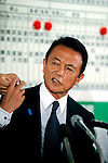 Taro Aso, president of Japan's ruling Liberal Democratic Party and prime minister of Japan, soeaks with the media at the LDP's headquarters after Japan's elections in Tokyo, Japan on Sunday 30 August 2009..
