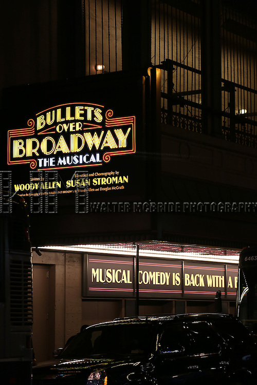 """Theatre Marquee for the Broadway Opening Night Performance Curtain Call for ''Bullets Over Broadway'""""at the St. James Theatre on April 10, 2014 in New York City."""