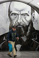 """Moscow, Russia, 20/06/2010..A mural of Russian novelist Fyodor Dostoevsky at the just-opened Dostoevsky metro station, the newest in Moscow's underground metro system. The station's opening was delayed by several weeks after psychiatrists claimed the gloomy and violent images in murals depicting scenes from Dostoevsky's novels would make the station a """"mecca for suicides""""."""