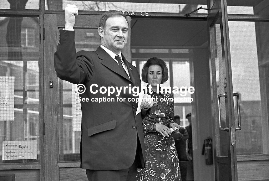 Vanguard Unionist politician William Craig and his German-born wife Doris at Rosetta Primary School, Belfast, N Ireland, UK, to vote in the Border Poll on N Ireland's Future. 197303080042b<br />