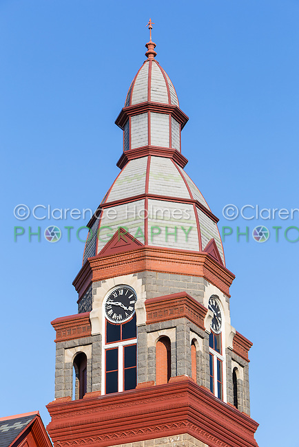 The clock tower of the Pulaski County Courthouse in Little Rock, Arkansas.