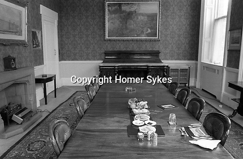 Saltaire, West Yorkshire. Managering Directors lunch place setting in the Board Room. Salts Mill. 1981.