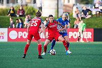 Boston, MA - Friday May 19, 2017: Christine Sinclair and Megan Oyster during a regular season National Women's Soccer League (NWSL) match between the Boston Breakers and the Portland Thorns FC at Jordan Field.