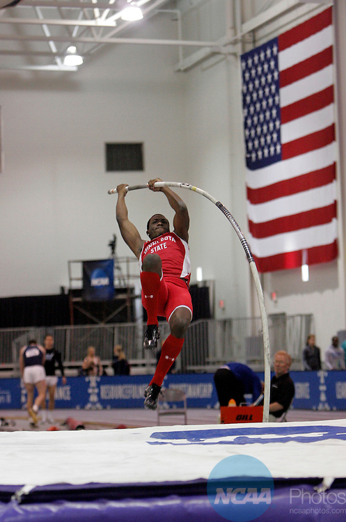 10 MAR 2012:  Laquone Robinson of Minnesota State Moorhead pole vaults during the heptathlon competition during the Division II Men's and Women's Indoor Track and Field Championship held at Myers Fieldhouse on the campus of Minnesota State University, Mankato, in Mankato, MN. Robinson finished 4th in the heptathlon Brian Fowler/NCAA Photos