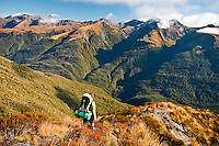 A tramper looking south and further into the Southern Alps in the Mt. Aspiring National Park from the Brewster Hut track - Mt. Aspiring National Park, West Coast, New Zealand