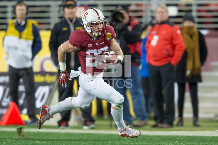 SANTA CLARA, CA - DECEMBER 30, 2014: Christian McCaffrey during Stanford's game against Maryland in the 2014 Foster Farms Bowl.  The Cardinal defeated the Terrapins 45-21.