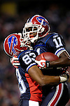 18 November 2007: Buffalo Bills wide receiver Roscoe Parrish (11) celebrates his 47-yard touchdown reception with wide receiver Lee Evans (83) during the first quarter against the New England Patriots at Ralph Wilson Stadium in Orchard Park, NY. The Patriots defeated the Bills 56-10 in their second meeting of the season...Mandatory Photo Credit: Ed Wolfstein Photo