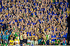 September 17, 2016; The student section reacts to an official review upholding a touchdown against Michigan State. (Photo by Matt Cashore)