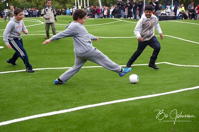 Inauguration of the &quot;Puckelball field&quot; - The World's first - with a soccer game between young people from nearby Holma and Kroksback.<br /> The unusual soccer field 25 x 40 meter is designed by Swedish artist Johan Ferner Strom ( http://www.johanstrom.com ) and is situated in the Kroksback Park in Malmo, Southern Sweden.<br /> Drawings and construction details have been carried out by the engineering company Ramboll ( http://www.ramboll.se ) and the contractor Svensk Markservice AB have built the arena.<br /> The design protected soccer field is regarded both as a interactive sculpture and an arena for playful competition.<br /> September 2009.<br /> Only for editorial use.