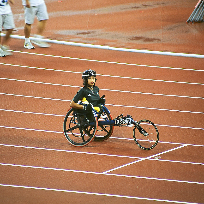 Paralympics Day 10 - Beijing 2008<br /> Athlete Madison De Rosario (Aus) final 4x100 T54<br /> Athlete Madison De Rosario (Aus) is looking at the other members of her team on the screen in the Bird's Nest, before the final 4x100 T54 . They will take the silver medal in 1:01.91 behind the chinese team who wins in 57.61 sec (new WR).September 16 2008<br /> High resolution available