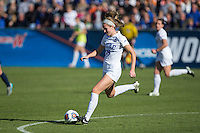Cary, North Carolina - Sunday December 6, 2015: Kara Wilson (15) of the Duke Blue Devils kicks the ball during second half action against the Penn State Nittany Lions at the 2015 NCAA Women's College Cup at WakeMed Soccer Park.  The Nittany Lions defeated the Blue Devils 1-0.