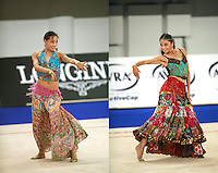 September 23, 2007; Patras, Greece;  (L-R) Sun Dan and Lu Yuan-Yang of China performs freehands duet during gala exhibitions at 2007 World Championships Patras.  Photo by Tom Theobald.