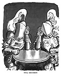 Vital Discussion. (The USA and USSR at the negotiating table dressed in knights armour, visors down, and iron fists as they hold up hands in listening gestures)