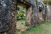 A hiker's view of the Kaniakapupu Ruins (or King Kamehameha III's Summer Palace), Nu'uanu Valley, O'ahu.