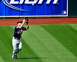6 September 2009: Minnesota Twins' outfielder Jason Kubel pulls in a fly ball against the Cleveland Indians at Progressive Field in Cleveland, Ohio. The Indians defeated the Twins 3-1 to take the rubber match of their three-game weekend series. Mandatory Credit: Ed Wolfstein Photo
