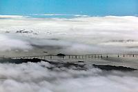 aerial photography fog Richmond Bridge, Contra Costa county California