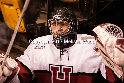Sihak Lee (Harvard - 1) - The Harvard University Crimson defeated the Northeastern University Huskies 4-3 in the opening game of the 2017 Beanpot on Monday, February 6, 2017, at TD Garden in Boston, Massachusetts.