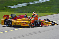 9-10 July, 2016 Newton, Iowa USA<br /> Ryan Hunter-Reay (#28) comes to a stop after spinning.<br /> &copy;2016, F. Peirce Williams