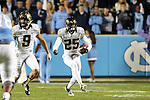 17 October 2015: Wake Forest's Brad Watson (25) runs back an interception. The University of North Carolina Tar Heels hosted the Wake Foresst University Demon Deacons at Kenan Memorial Stadium in Chapel Hill, North Carolina in a 2015 NCAA Division I College Football game. UNC won the game 50-14.