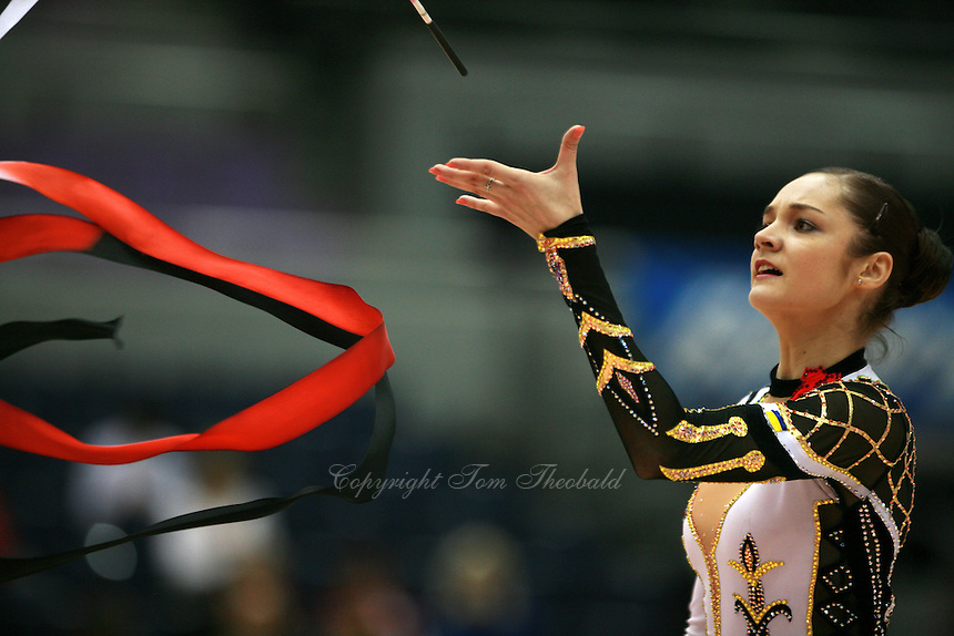 Anna Bessonova of Ukraine...re-catch of ribbon at 2006 Aeon Cup Worldwide Clubs Championships in rhythmic gymnastics on November 16, 2006 at Mie, Japan.<br />