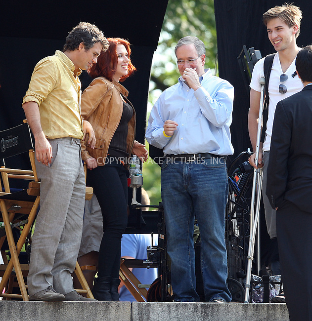 WWW.ACEPIXS.COM . . . . .  ....September 2 2011, New York City....Actors Mark Ruffalo (L) and Scarlett Johansson and her brother Hunter (R)on the Central Park set of the new movie 'The Avengers' on September 2 2011 in New york City....Please byline: PHILIP VAUGHAN - ACE PICTURES.... *** ***..Ace Pictures, Inc:  ..Philip Vaughan (212) 243-8787 or (646) 679 0430..e-mail: info@acepixs.com..web: http://www.acepixs.com