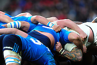 A general view of a scrum during the match. RBS Six Nations match between England and Italy on February 26, 2017 at Twickenham Stadium in London, England. Photo by: Patrick Khachfe / Onside Images