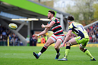 Owen Williams of Leicester Tigers passes the ball. Aviva Premiership match, between Leicester Tigers and Sale Sharks on April 29, 2017 at Welford Road in Leicester, England. Photo by: Patrick Khachfe / JMP