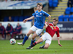 St Johnstone Academy v Manchester Utd Academy&hellip;.06.05.16  McDiarmid Park, Perth<br />David Brown is tackled by Christian Farrar<br />Picture by Graeme Hart.<br />Copyright Perthshire Picture Agency<br />Tel: 01738 623350  Mobile: 07990 594431