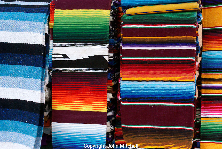 Colourful woven Mexican rugs  in Playa del Carmen, Riviera Maya, Quintana Roo, Mexico.