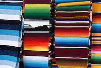 Colourful woven Mexican rugs  in Playa del Carmen, Riviera Maya, Quintana Roo, Mexico.