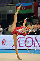September 13, 2009; Mie, Japan;  Anzhelika Savrayuk of Italian rhythmic group performs in 5-hoops Event Final after winning gold in group All Around at the 2009 World Championships Mie, Japan. Photo by Tom Theobald.