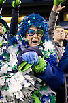 """Patti """"Mama Blue"""" Hammond, Seattle Seahawks 12 Man Fan  at QWEST Field in Seattle. Jim Bryant Photo. ©2010. All Rights Reserved"""