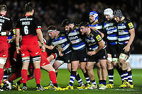 The Bath forwards pack down for a scrum. Aviva Premiership match, between Bath Rugby and Saracens on April 1, 2016 at the Recreation Ground in Bath, England. Photo by: Patrick Khachfe / Onside Images