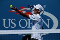 Novak Djokovic of Serbia serves to Kei Nishikori of Japan during men semifinal match at the US Open 2014 tennis tournament in the USTA Billie Jean King National Center, New York.  09.05.2014. VIEWpress